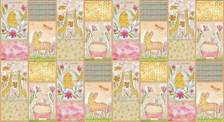 "Hello World - Welcoming Committee PANEL - 24"" x 43"" - Good Day! - Cori Dantini - Blend - animals, baby - PANEL - 112.103.01.1 - RebsFabStash"