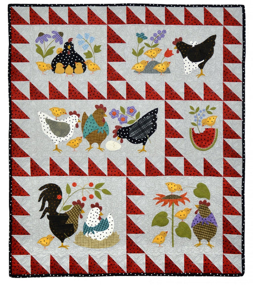 Here a Chick, There a Chick - Block PATTERN - Bonnie Sullivan - Complete Set 6 blocks - Flannel or Wool Applique - Primitive - RebsFabStash
