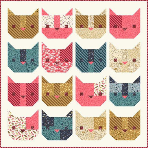 "Here Kitty Kitty - Quilt Pattern - Uses Woof Woof Meow fabric by Stacy Iest Hsu for Moda - Finished Quilt 48"" x 48"" - RebsFabStash"