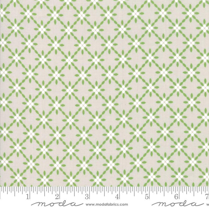 Holliberry Stone - per yard - Corey Yoder Little Miss Shabby for MODA - 29094-16 - White & Green Lattice on Grey - holiday, Christmas - RebsFabStash