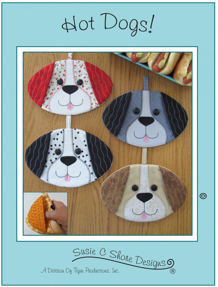 Hot Dogs! - Dog, canine, puppy Hot Pad or pot holder Pattern - by Susie Shore Designs - Mini Pattern #1628 - RebsFabStash