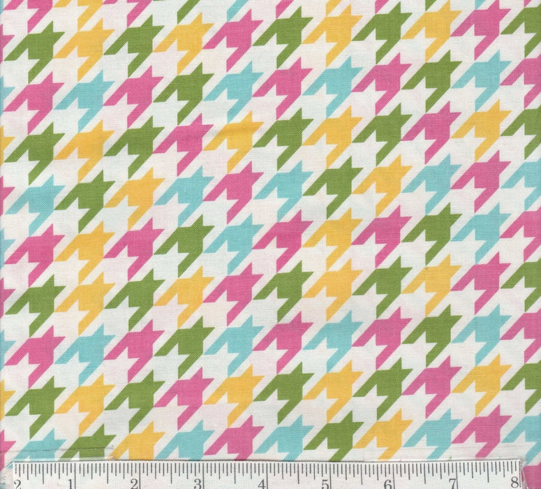 Houndstooth - per yard - Riley Blake designs - RBD Designers - Pink, Yellow, Green, Aqua on White - RebsFabStash