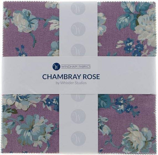 "Chambray Rose - Layer Cake - Stacker - (42) 10""x 10"" pieces  - Windham Fabrics - Whistler Studios - purple, blue, lilac, floral, roses"