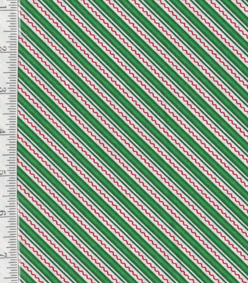 Trimming the Tree Collection - Per Yd - Mary Engelbreit for Quilting Treasures - Green Diagonal Stripe