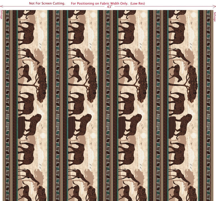 Wisdom of the Plains - Per Yd - Quilting Treasures - Tara Reed - African Plains - multi color stripe