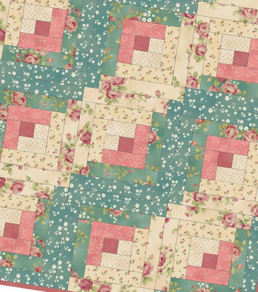 Welcome Home - Log Cabin Quilt Kit -  POD - Maywood Studio - green pink cream version