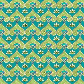 Pretty as a Peacock - Per Yard  - Quilting Treasures - Floral on Teal