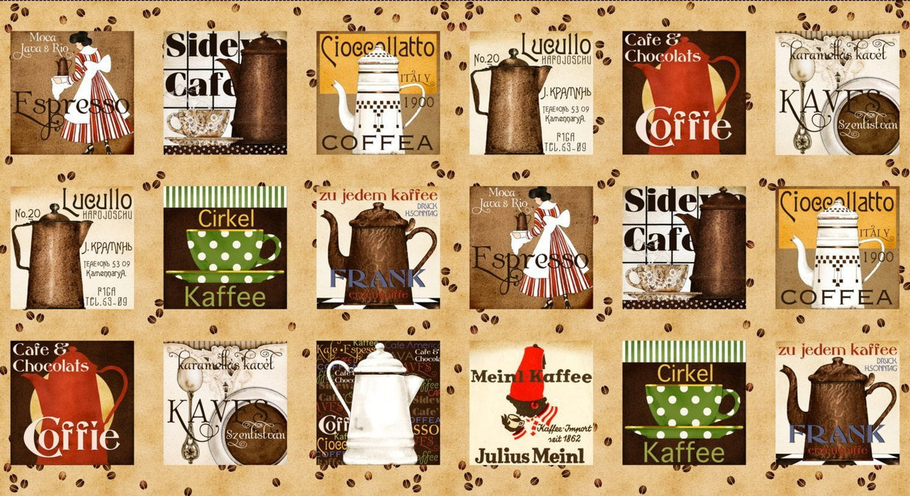 Daily Grind - Per Yd  - Quilting Treasures - Janet Wecker Frisch - Coffee Talk