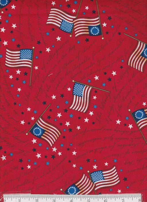 American Flags - Per Yd - Quilting Treasures - Long May She Wave - Flags on Red