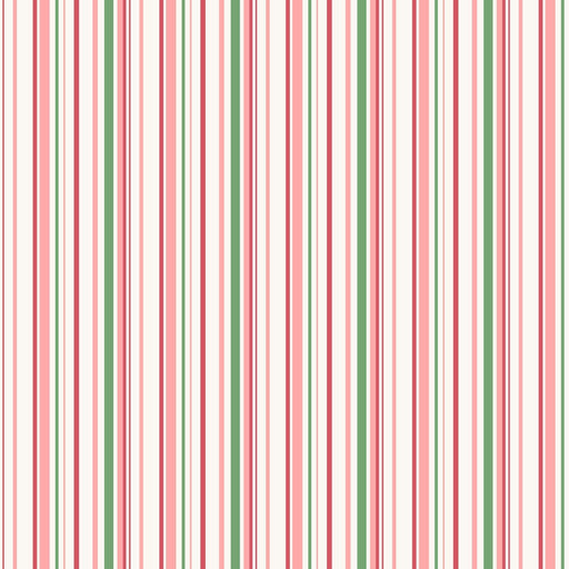 Berries and Blossoms - Per Yd - Maywood Studio - Pink Green White border print or stripe