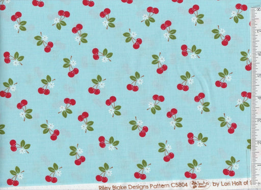 Sew Cherry 2 - Per Yd - Riley Blake - by Lori Holt - Cherries on Blue
