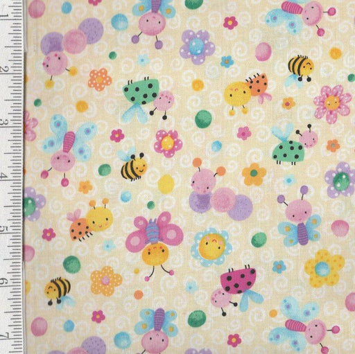 Bees & Butterflies - Per Yd - Blank Quilting - by Sanja Rescek - Bees - Butterflies on Cream