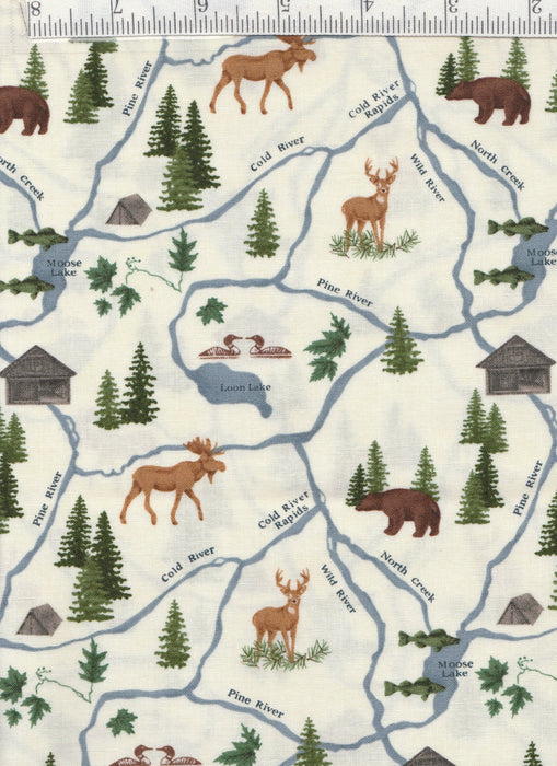River Journey - Per Yd - Moda by Holly Taylor- Canoes on White