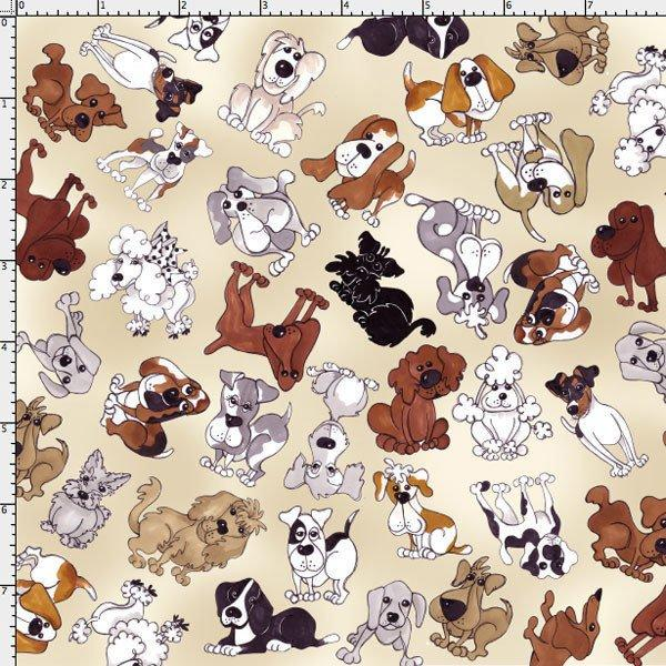 Doggies Dots - per Yd - Loralie Harris Designs - Cute Fabric on Ecru