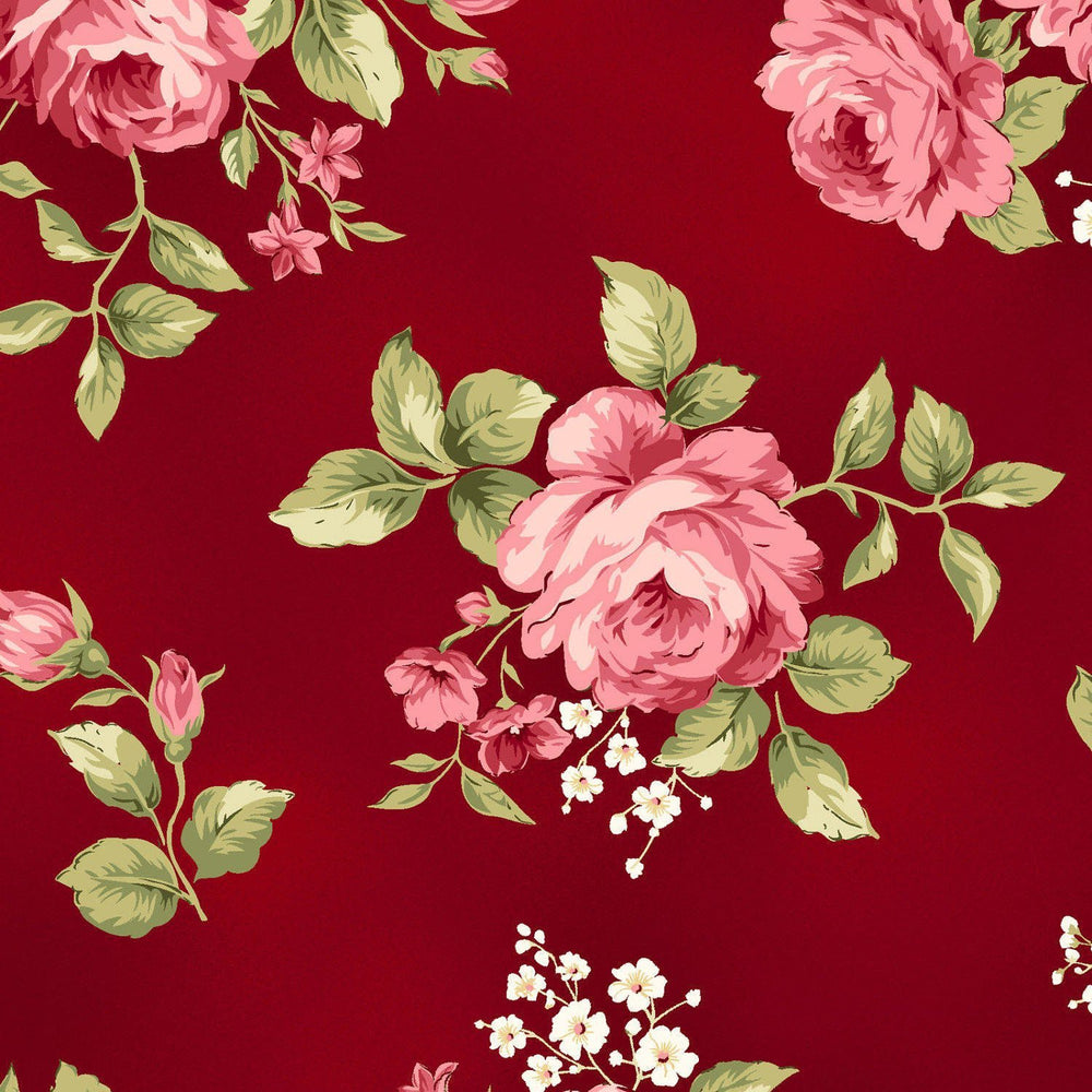 "Welcome Home FLANNEL- Maywood Studio REMNANT 1 yd 30"" - Medium Floral - Burgundy - MASF 8360 R"