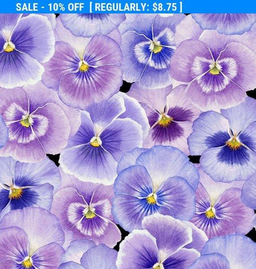 Pretty as a Pansy - 1/2 yd  - Henry Glass by Jane Shaskey of Jane's Garden - Pansies - Up Close