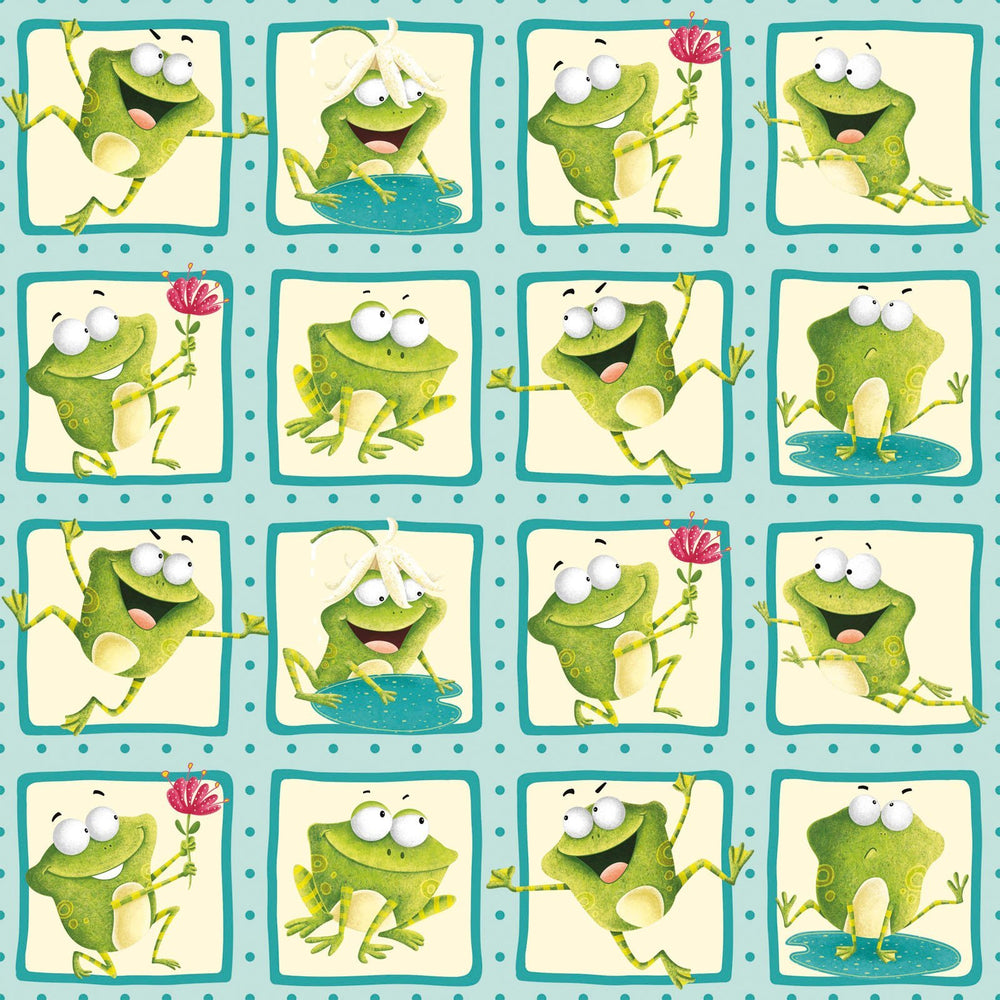 "Frogland Friends- PANEL - Henry Glass by Nidhi Wadhwa - Froggie Squares 2.5"" Blocks"
