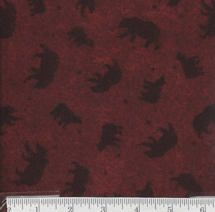 "Lodge Life -LAST PIECE 1 y 8"" - Red Rooster - Flannel - Bears on Burgundy"