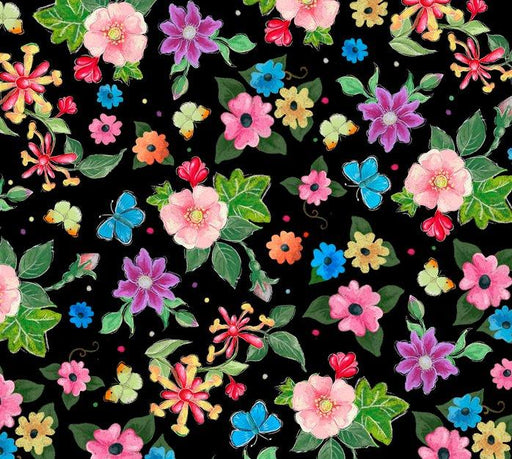Blessed - Per Yard - Heiz Cuppleditch for Quilting Treasures - Flowers on Black