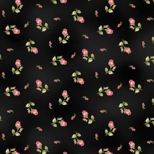 Welcome Home FLANNEL- Maywood Studio - Per Yd - Rose Buds - on Black - MASF 8363 J