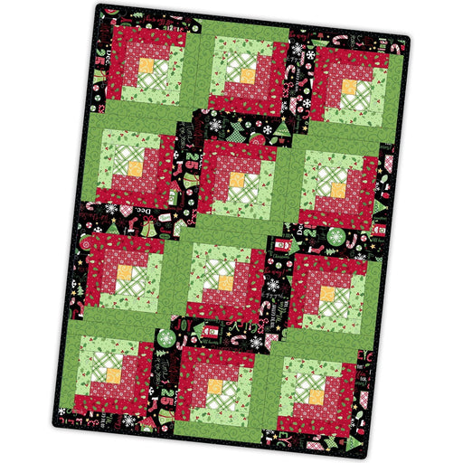 Jingle All the Way - 12-Block Log Cabin Quilt Kit - POD  - Maywood Studio - Kim Christopherson, Christmas fabric -