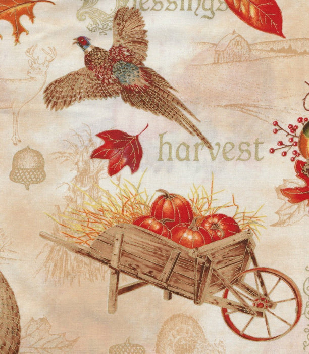 Autumn Song - Per Yd - Red Rooster - Sandy Lynam Clough - Border Print