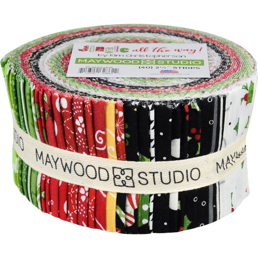 "Jingle All the Way - Jelly Roll - Maywood Studio - (40) 2.5"" Strips - Kim Christopherson, Christmas quilt fabric - C"