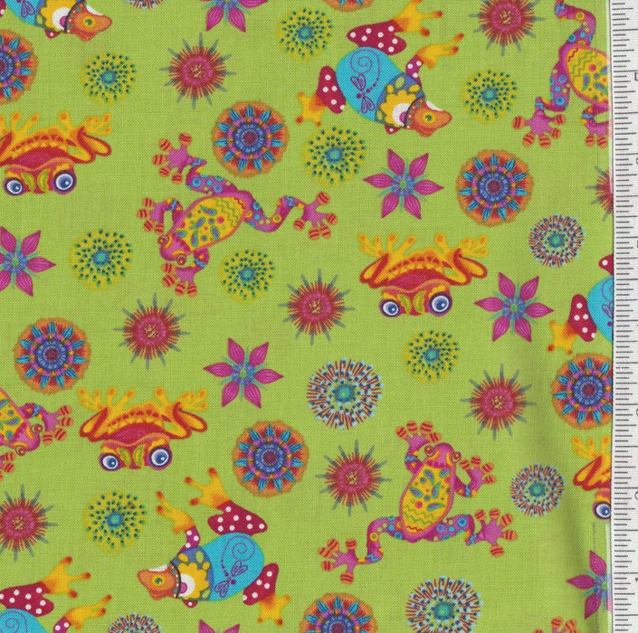 Calypso Frogs - Per Yd - Paintbrush Studio by Ro Gregg - Frogs on Green