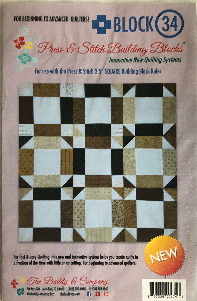 Block 34 - Press & Stitch Building Blocks - Easy quilt uses strips, charm packs or layer cakes - multiple sizes