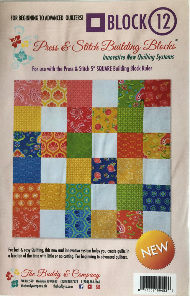 Block 12 - Press & Stitch Building Blocks - Easy quilt uses charm packs or layer cakes - multiple sizes