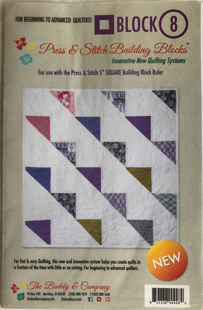 Block 8 - Press & Stitch Building Blocks - Easy quilt uses charm packs or layer cakes - multiple sizes
