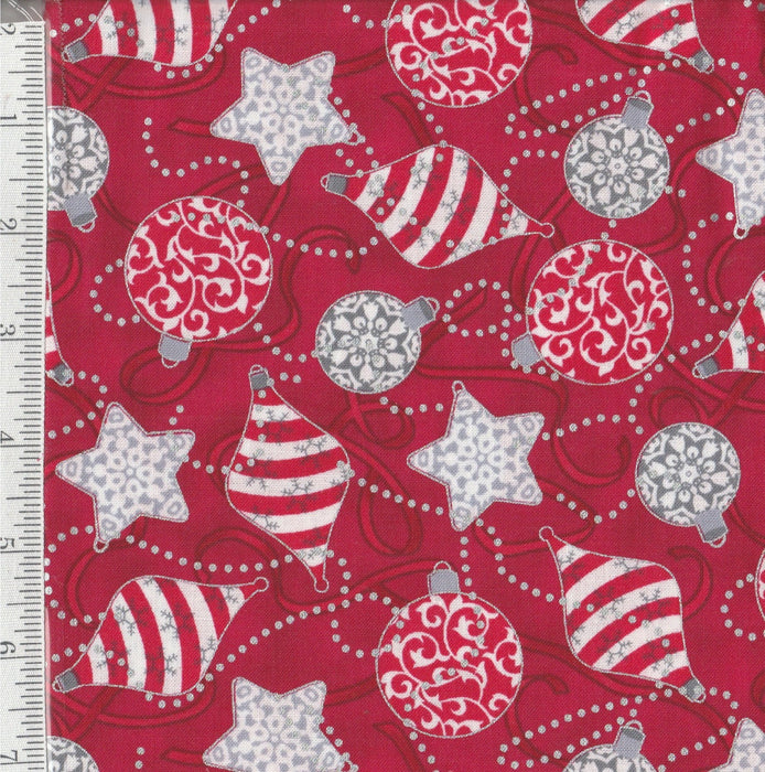 Ornamental Christmas - Per Yd - Studio 8 - Quilting Treasures  - Silver/Red