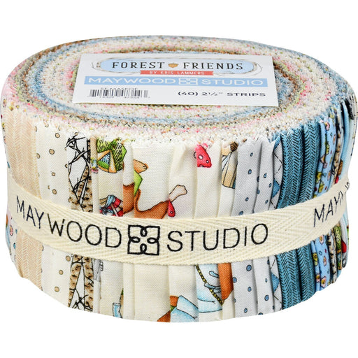 "Forest Friends - Jelly Roll (40) 2.5"" strips - Maywood Studio - by Kris Lammers - Critters! - C"