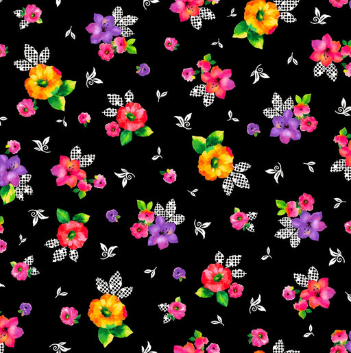 Brooke Fabric Collection by Studio 8 - Per Yard - Quilting Treasures - Shannon Ownby Quilt Along - Large multi colored floral on black
