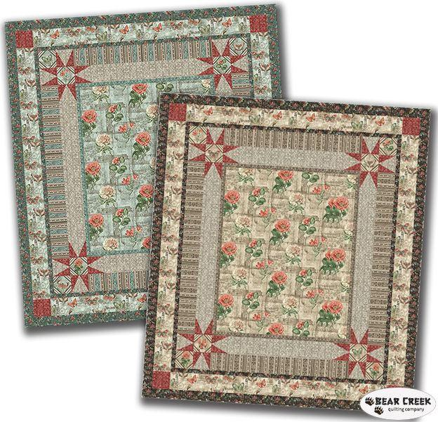 "Jackson Square Quilt Kit - MODA - 62"" x 70"" Throw - Beautiful FRENCH Poppies and Butterflies"
