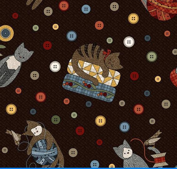 Sew Purrfect Flannel - Per Yd - Maywood - 2-Ply - Very Soft - High Quality  - Border Print - Kitties and Notions