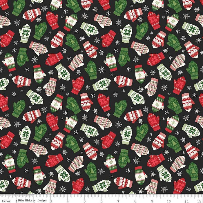 Comfort and Joy -by the yard- Christmas -Quilt fabric- Riley Blake-Dani Mogstad for My Mind's Eye-Reindeer mittens on black - C