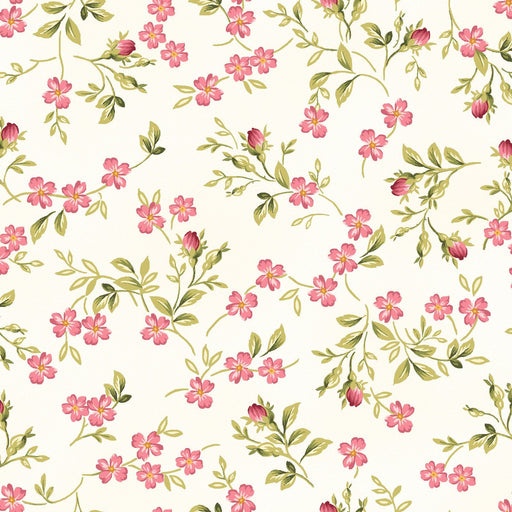 Roses on the Vine - Per Yard - Maywood Studio - by Marti Michell - Small Pink Blossoms on White