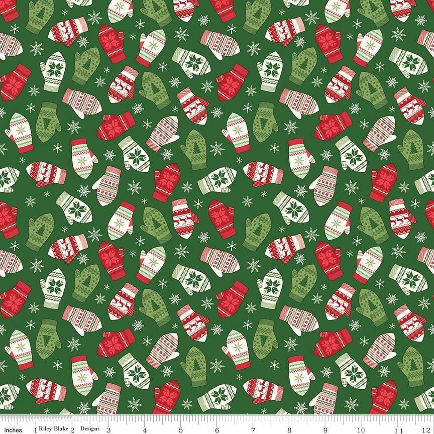 Comfort and Joy -by the yard- Christmas -Quilt fabric- Riley Blake-Dani Mogstad for My Mind's Eye- Mittens on green - C