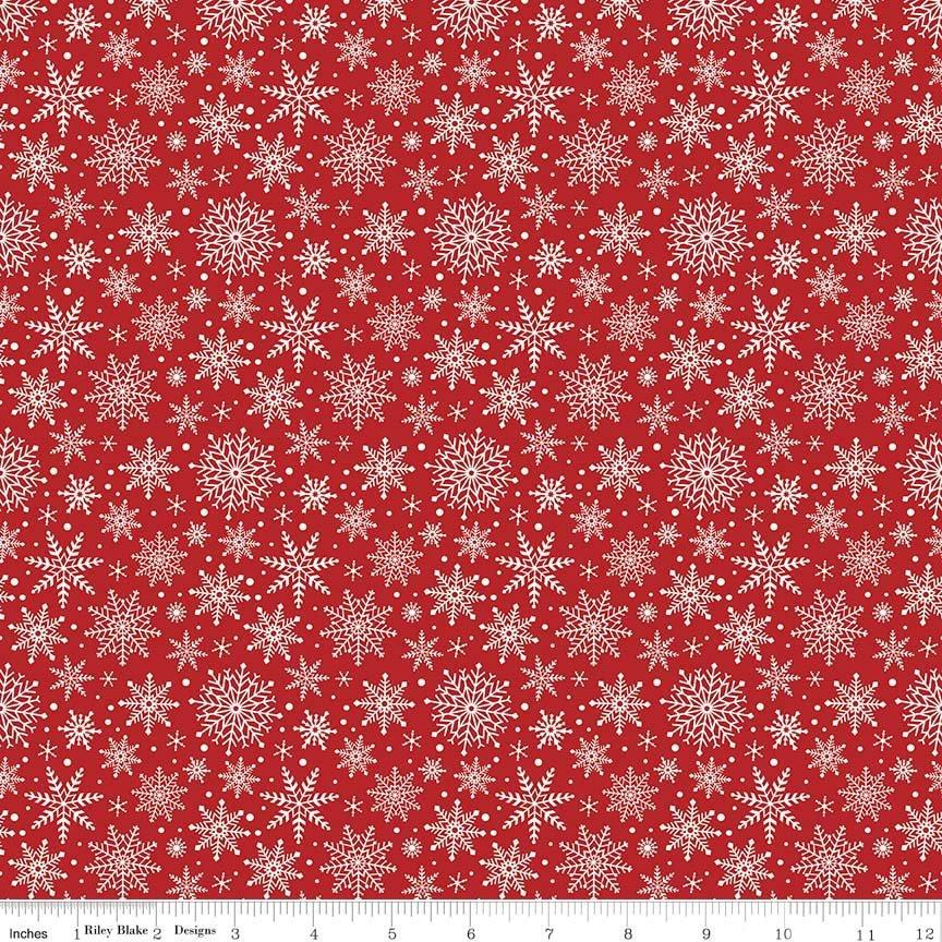 Comfort and Joy - by the yard - Christmas - Quilt fabric - Riley Blake - by Dani Mogstad for My Mind's Eye - Snowflakes on red - C