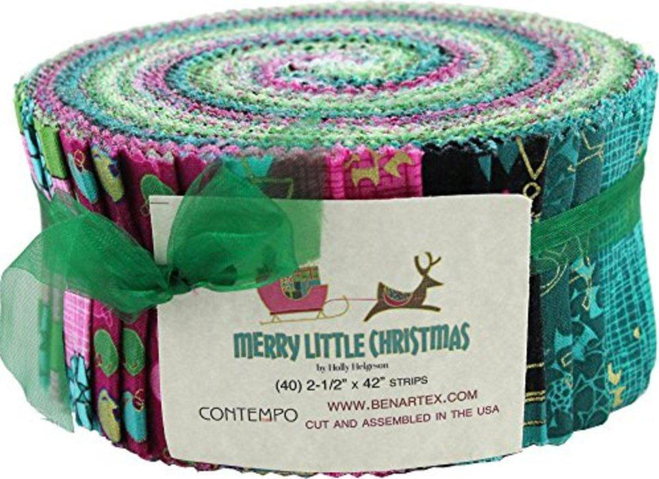 Merry Little Christmas - Jelly Roll Pinwheel strips- Quilt fabric - Contempo (Benartex) Reindeer, Snowflakes, trees - Holly Helgeson