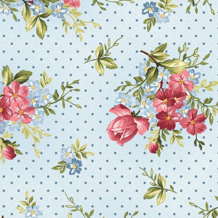 Roses on the Vine - Per Yard - Maywood Studio - by Marti Michell - pink medium floral on blue with dots