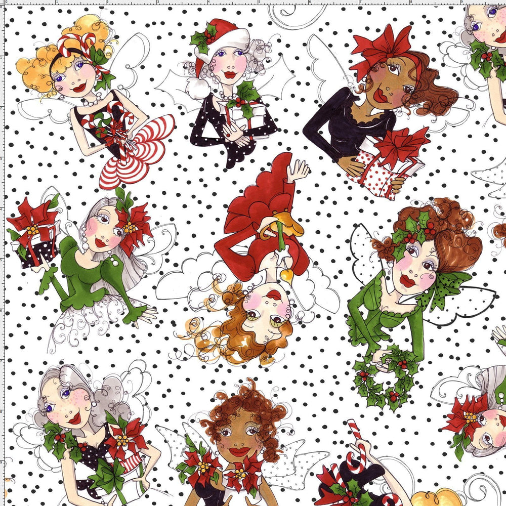 Fairy Merry - Per Yd - Loralie Harris Designs - Christmas - Tossed Fairies - on white with black dots - C