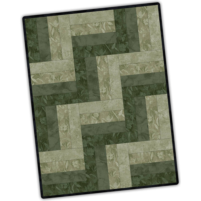 "Aged to Perfection Fabric - Maywood - 12 Block Rail Fence Quilt Pod - Finished approx. 24"" x 32"", green, tonals, precut quilt kit - C"