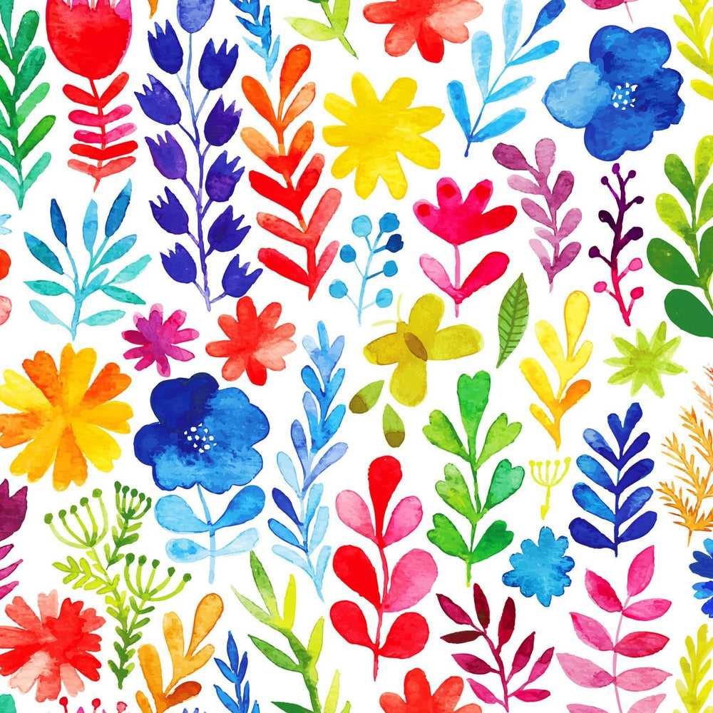 Floral Menagerie - REMNANTS ONLY - In the beginning Fabrics by Jason Yenter - bright flowers and foliage on white, watercolor - C