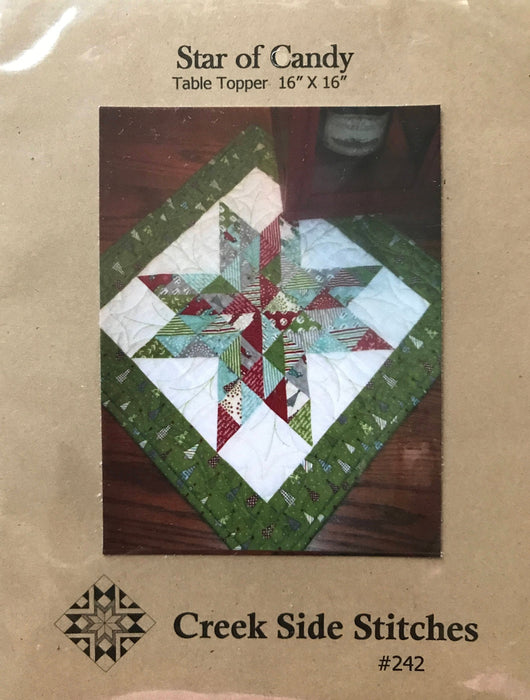 "Star of Candy - Mini pattern - Table topper quilt pattern 16"" x 16"" - Creek Side Stitches #242 - Charm or mini charm friendly - Christmas"