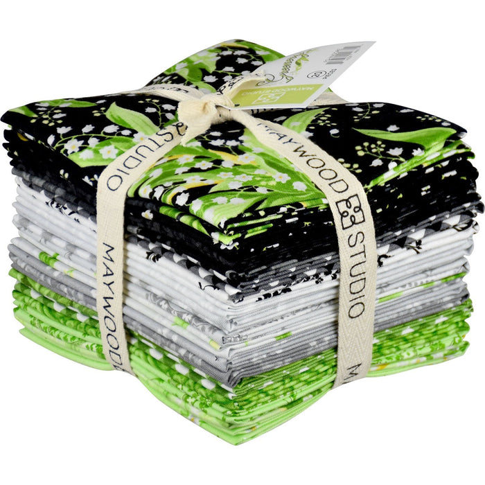 NEW! Greenery - 12 block Rail Fence POD Quilt Kit - Maywood Studio - green, grey, black, white, dots, paisley - Quilt Market Release!