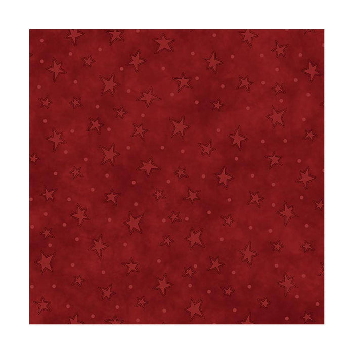 "Starry Basics -REMNANT 1yd 21""- Henry Glass by Leanne Anderson - Stars,  basics, tonals, blender - Red"