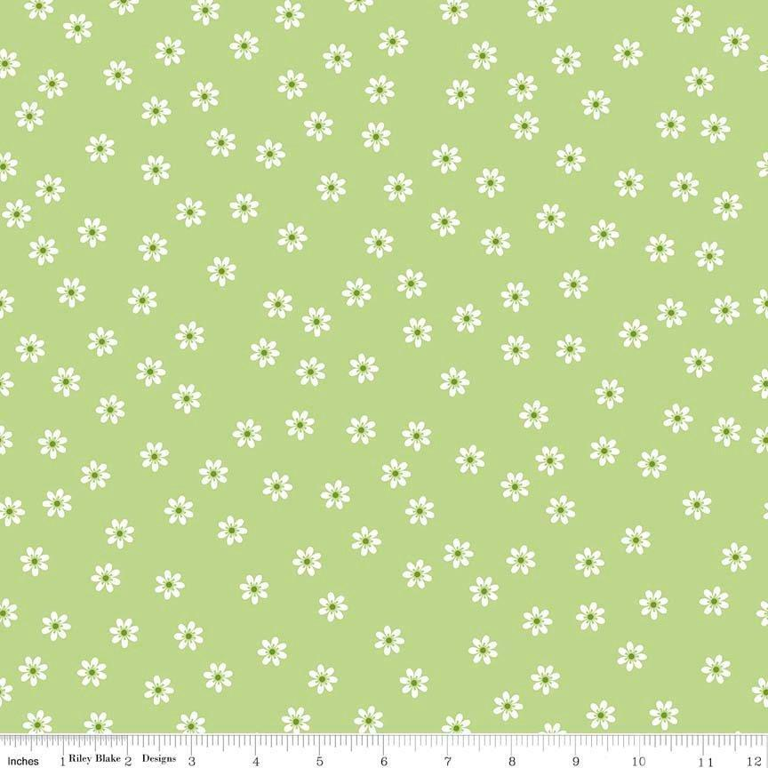 Sew Cherry 2 - Per Yd - Riley Blake - by Lori Holt - White flowers or daisies on Nutmeg