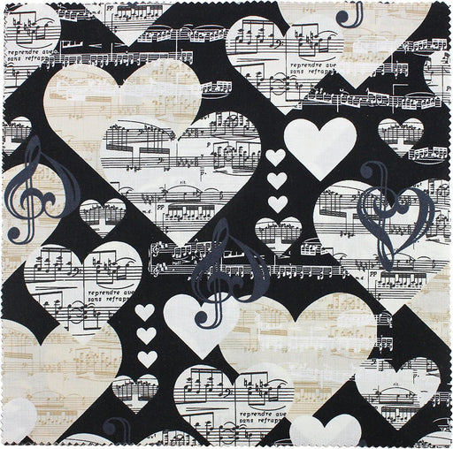 The Music in Me - Fabric collection - Per Yard - Benartex - by Kanvas Studio - piano, music notes, - Hearts on Black